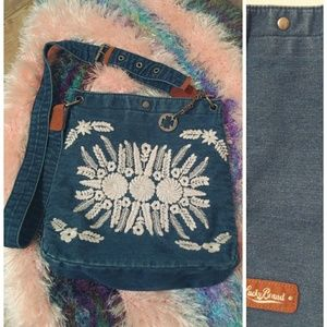 Lucky Brand Embroidered Denim Cross Body Bag